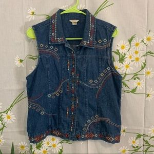 VTG Christopher & banks denim southwestern vest